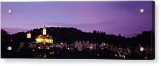 Church Lit Up At Dusk In A Town, Horb Acrylic Print