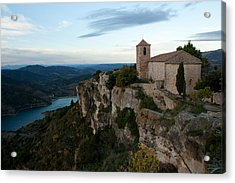 Church On Cliff By River Acrylic Print by David Oliete