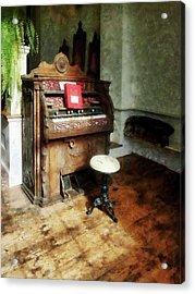 Church Organ With Swivel Stool Acrylic Print by Susan Savad