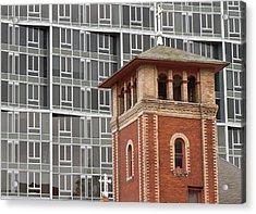 Church Steeple And Apartment Building Acrylic Print