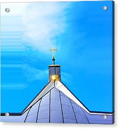 Church Top With Sun And Cross Acrylic Print by Tommytechno Sweden