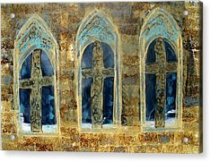Church Windows Acrylic Print by Lesley Fletcher
