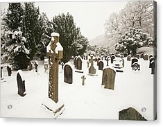 Church Yard In Snow Acrylic Print by Ashley Cooper