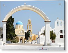 Churches Oia Santorini Greek Islands Acrylic Print by Carole-Anne Fooks