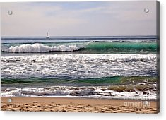 Acrylic Print featuring the photograph Churning Surf At Monterey Bay by Susan Wiedmann