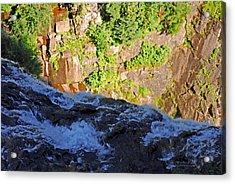 Churning Waters. Cliffs At Narada Falls Acrylic Print by Connie Fox