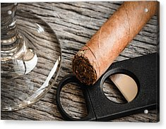 Cigar And Cutter With Glass Of Brandy Or Whiskey On Wooden Backg Acrylic Print