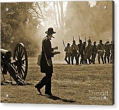Acrylic Print featuring the photograph Cigar Man - U.s. Civil War Reenact by Cheryl Del Toro