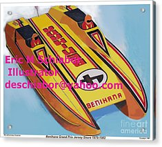 Cigarett Power Boat Illustration Acrylic Print by Eric  Schiabor
