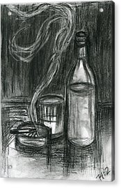 Cigarettes And Alcohol Acrylic Print by Roz Abellera Art
