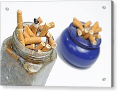 Cigarettes Butts In Jar And Ashtray Acrylic Print