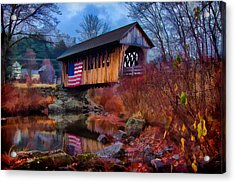 Cilleyville Covered Bridge Acrylic Print by Jeff Folger