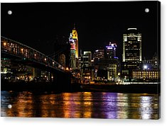 Acrylic Print featuring the photograph Cincinnati By Night by Cathy Donohoue