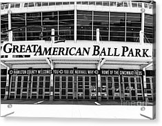 Cincinnati Great American Ball Park Black And White Picture Acrylic Print
