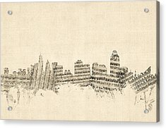 Cincinnati Ohio Skyline Sheet Music Cityscape Acrylic Print