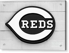 Cincinnati Reds Sign Black And White Picture Acrylic Print by Paul Velgos