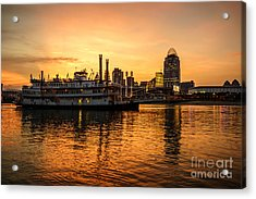 Cincinnati Skyline And Riverboat At Sunset Acrylic Print