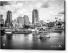 Cincinnati Skyline And Riverboat Black And White Picture Acrylic Print
