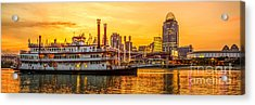 Cincinnati Skyline And Riverboat Panorama Photo Acrylic Print