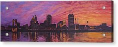 Acrylic Print featuring the painting Cincinnati Skyline by Andrew Danielsen