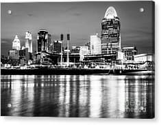 Cincinnati Skyline At Night Black And White Picture Acrylic Print