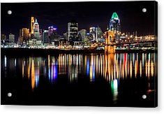 Cincinnati Skyline In Christmas Colors Acrylic Print