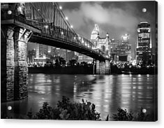Cincinnati Skyline - John Roebling Bridge And Ohio River Acrylic Print