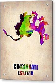 Cincinnati Watercolor Map Acrylic Print by Naxart Studio