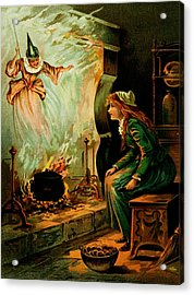 Cinderella And The Fairy Godmother Acrylic Print by Mother Goose