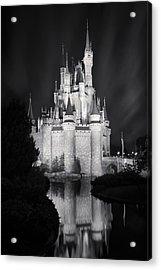 Cinderella's Castle Reflection Black And White Acrylic Print by Adam Romanowicz