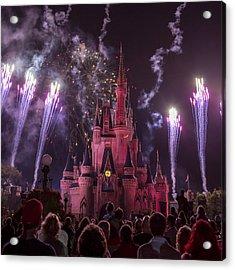 Cinderella's Castle With Fireworks Acrylic Print by Adam Romanowicz