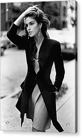 Cindy Crawford Wearing A Wool Coat Over A Slip Acrylic Print by Arthur Elgort