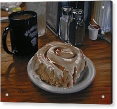 Cinnamon Roll At Wesners Cafe Acrylic Print by Timothy Jones
