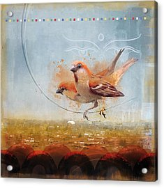 Cinnamon Sparrows Acrylic Print by Alex Tomlinson