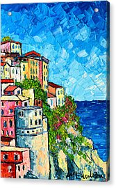 Cinque Terre Italy Manarola Painting Detail 3 Acrylic Print by Ana Maria Edulescu