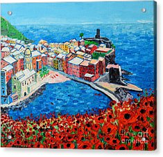 Cinque Terre Vernazza Poppies Acrylic Print by Ana Maria Edulescu