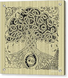 Circle Celtic Tree Of Life Inked Acrylic Print