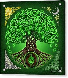 Circle Celtic Tree Of Life Acrylic Print by Kristen Fox