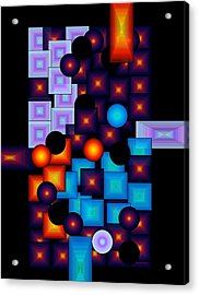 Acrylic Print featuring the digital art Circles Vs.squares by Gayle Price Thomas