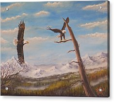 Acrylic Print featuring the painting Circling Eagle by Dan Wagner