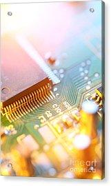 Circuit Board Abstract Acrylic Print by Konstantin Sutyagin