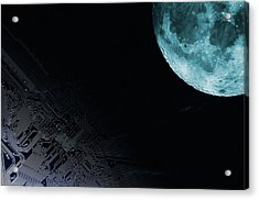 Circuit Board And Moon Acrylic Print by Christian Lagerek/science Photo Library