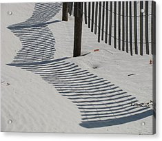 Circus Beach Fence Acrylic Print by Ellen Meakin