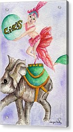 Acrylic Print featuring the painting Circus Elephant by Tamyra Crossley