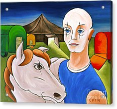 Circus Man And Horse Acrylic Print by William Cain