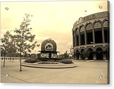 Citi Field In Sepia Acrylic Print by Rob Hans