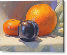 Citrus And Plum Acrylic Print by Peter Orrock