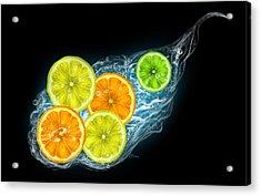 Citrus Fruits On A Black Background Acrylic Print