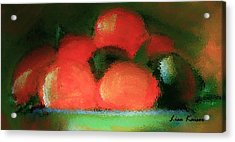 Acrylic Print featuring the painting Citrus In Pottery Bowl by Lisa Kaiser