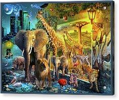 Acrylic Print featuring the drawing City Animals by Jan Patrik Krasny